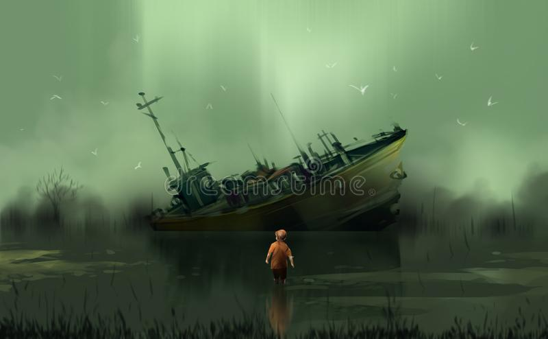 Ett pojkeanseende i träskblicken på till det övergav fartyget mot hu royaltyfri illustrationer