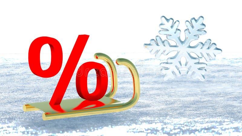 Ett procentsymbol på den Santa Claus släden som symboliserar vinterrabatt vektor illustrationer