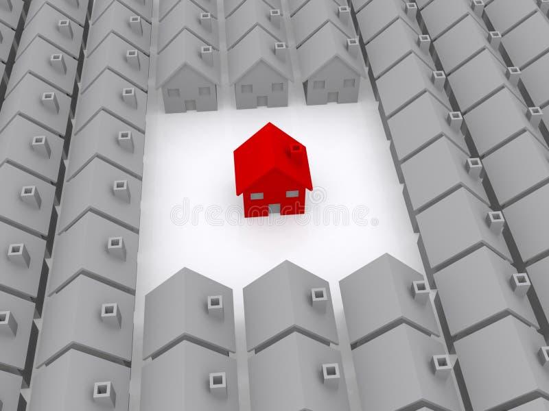 Ett rött hus royaltyfri illustrationer