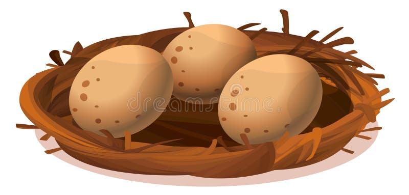 Ett rede med tre ägg royaltyfri illustrationer