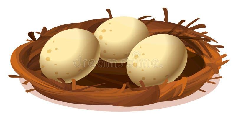 Ett rede med tre ägg vektor illustrationer