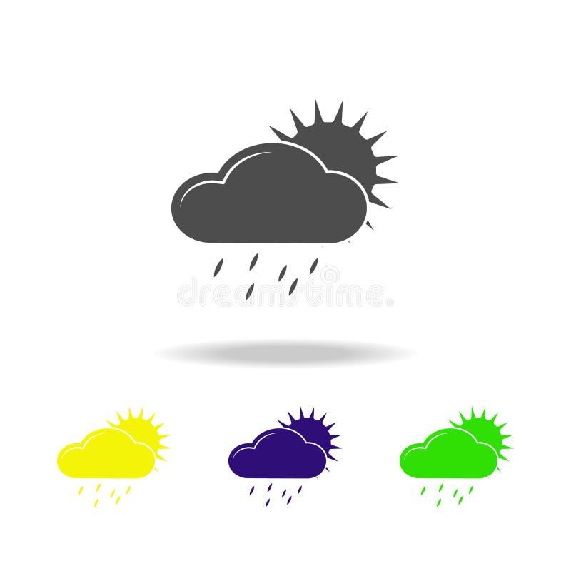 ett regnigt moln med den kulöra symbolen för sol Beståndsdel av den kulöra symbolen för väder Kan användas för rengöringsduken, l stock illustrationer