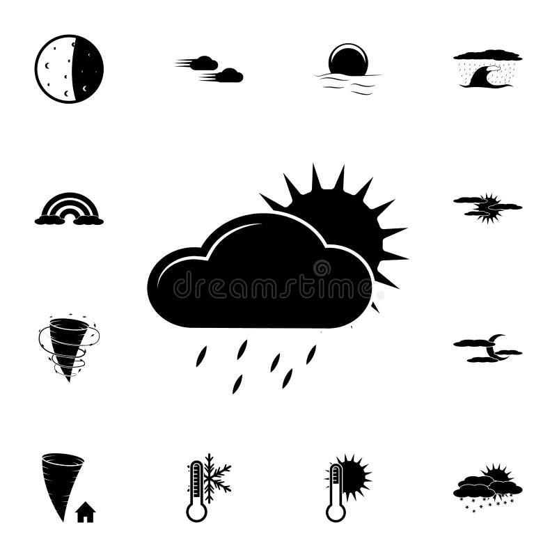ett regnigt moln med solsymbolen Detaljerad uppsättning av vädersymboler Högvärdig grafisk design En av samlingssymbolerna för we vektor illustrationer