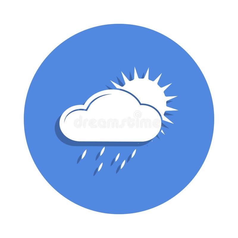 ett regnigt moln med solsymbolen i emblemstil En av vädersamlingssymbolen kan användas för UI, UX stock illustrationer