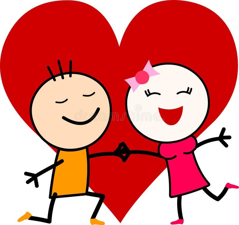 Ett romantiskt par för gullig tecknad film som är förälskat med en stor hjärta vektor illustrationer