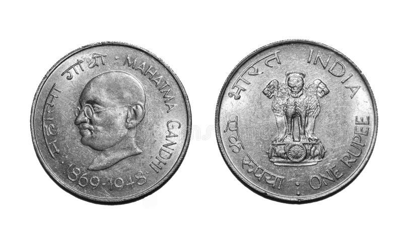 Ett rupiemynt Mahatma Gandhi arkivbild