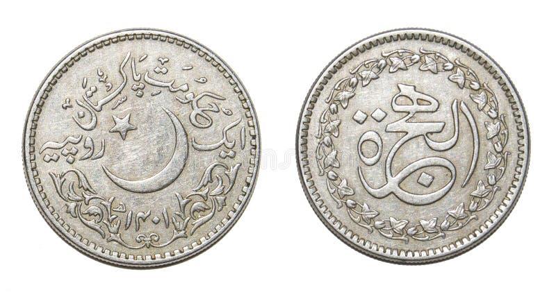 Ett rupiemynt Pakistan isolerade royaltyfri bild