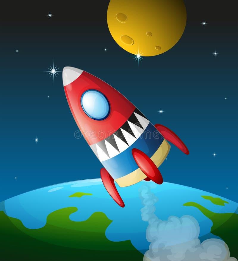 Ett rymdskepp i himlen vektor illustrationer