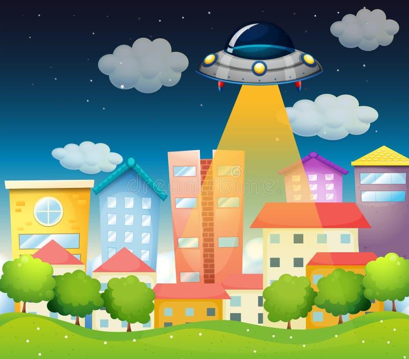 Ett rymdskepp ovanför byggnaderna royaltyfri illustrationer