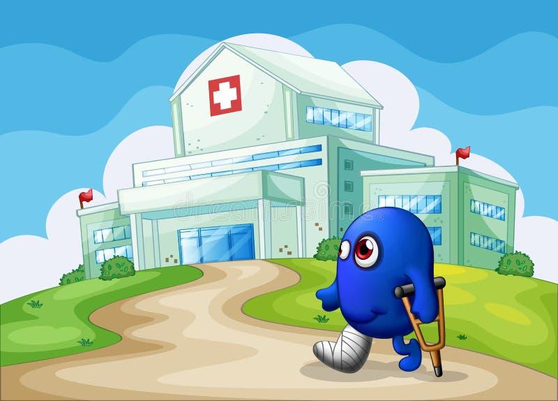 Ett sårat blått monster som går till sjukhuset stock illustrationer