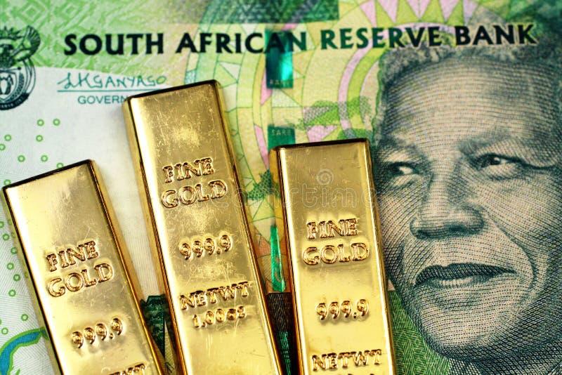 Ett södra - afrikan tio rand sedel med tre lilla guld- stänger royaltyfri bild