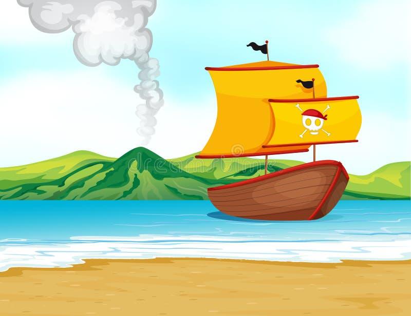 Ett skepp av en piratkopiera stock illustrationer