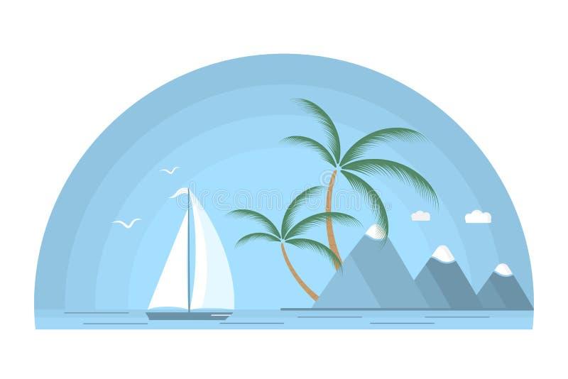 Ett skepp med en vit seglar mot bakgrunden av en tropisk ö med palmträd och berg seascape stock illustrationer