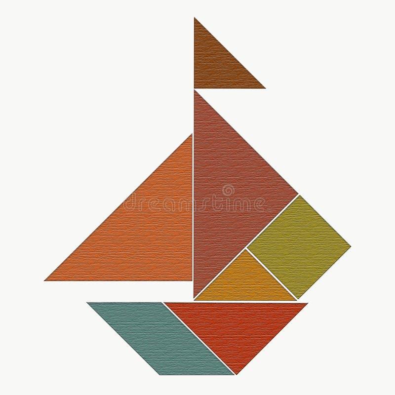 Ett skepp med seglar, lagt ut från stycken av ett pussel av tangramen, stock illustrationer