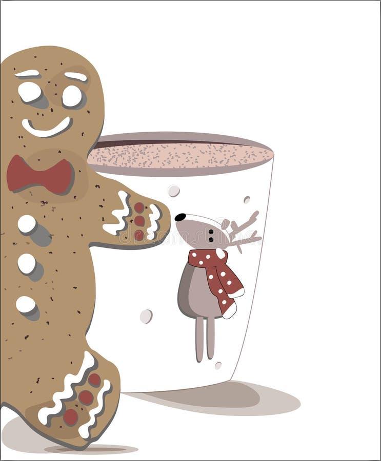 Ett smakligt kex med en kopp av varm chokolate royaltyfri illustrationer