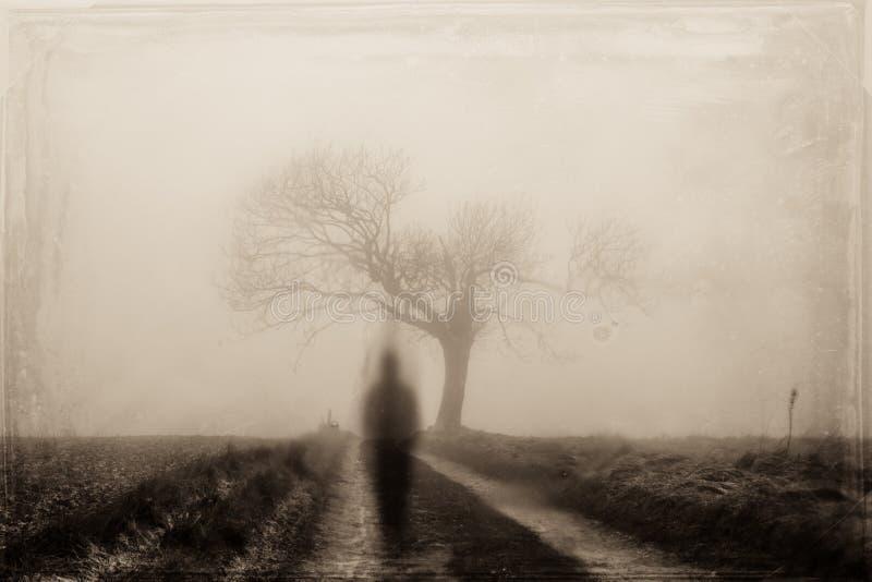 Ett spöklikt suddigt diagram på en landsbana i vinter Med en grunge gammalt foto för sepia att redigera royaltyfria foton