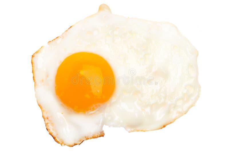 Ett stekt ägg som isoleras på vit bakgrund royaltyfri foto