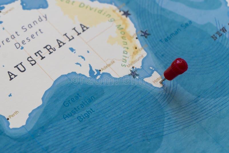 Ett stift på hobart, Australien i världskartan fotografering för bildbyråer