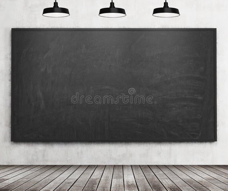 Ett stilfullt rum med den svarta svart tavlan på väggen, trägolvet och tre takljus lokal för perspektiv för gruppdof låg vektor illustrationer