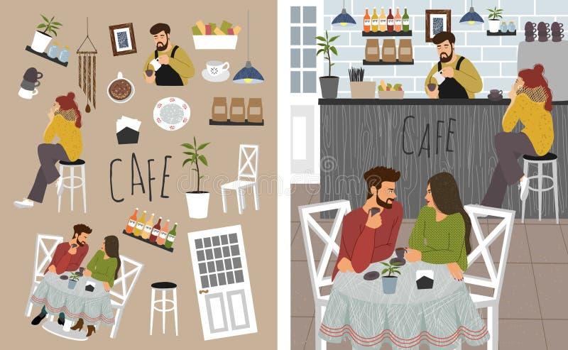 Ett stort antal isolerade objekt på temat en kaffekvaru- och Cute-vektorbild med människor: ett par dricka kaffe på en stock illustrationer