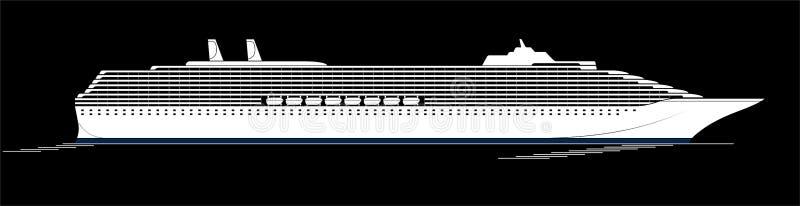 Ett stort och modernt kryssningskepp En enorm eyeliner går till och med Ocyanen Sidosikt, kontur stock illustrationer