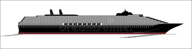 Ett stort och modernt kryssningskepp En enorm eyeliner går till och med Ocyanen Sidosikt, kontur vektor illustrationer