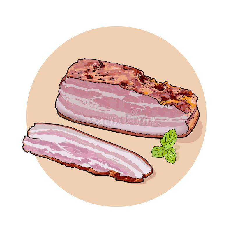 Ett stort stycke av bacon och skivat stycke med gröna sidor stock illustrationer