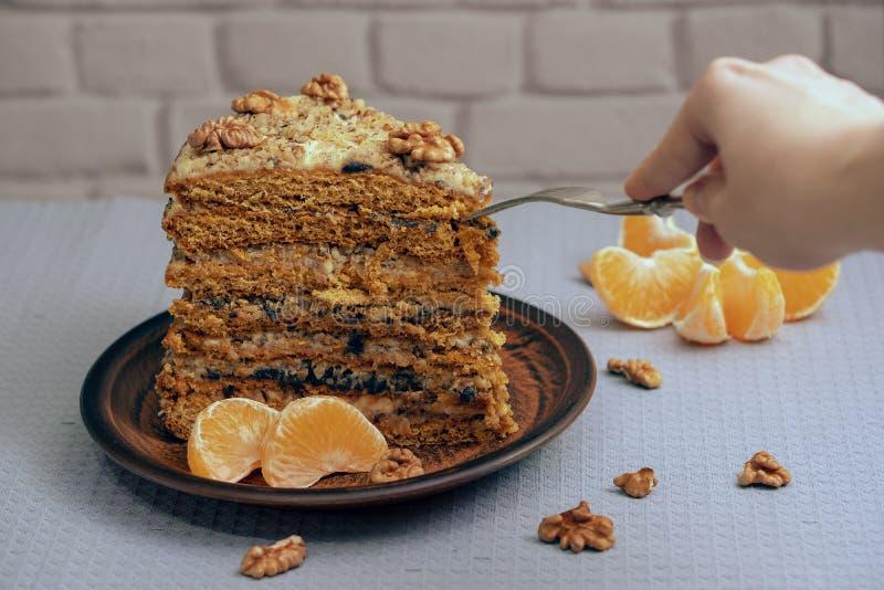 Ett stort stycke av den hemlagade kakan på en keramisk platta med muttrar och mandarinen royaltyfri bild