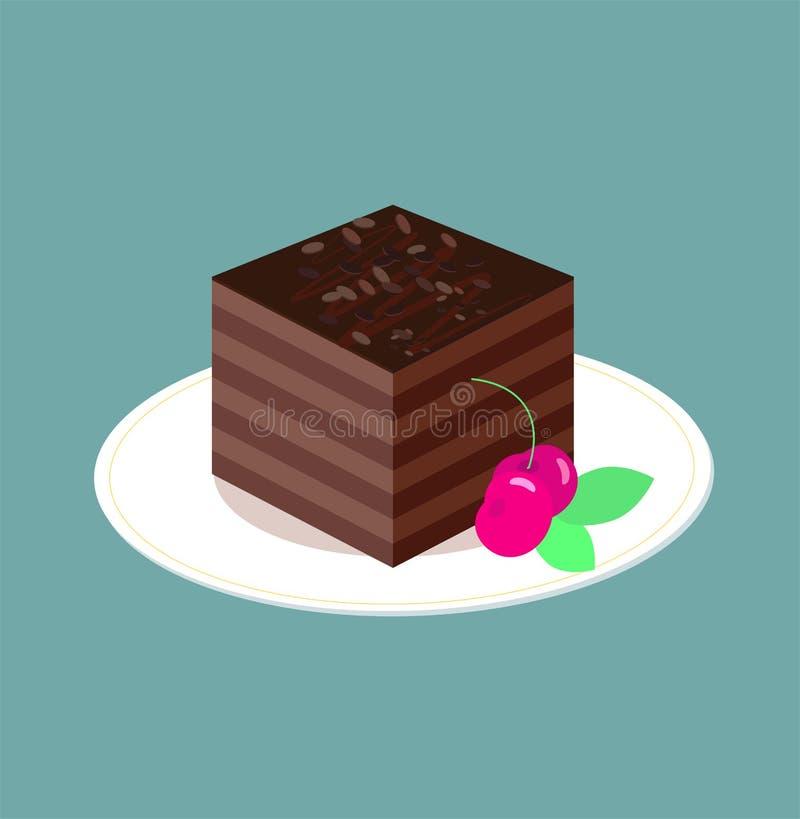 Ett stycke av chokladkakan på den vita plattan Strilar den mörka chokladsockerkakan för fyrkanten med confituren, kaka Körsbär oc royaltyfri illustrationer
