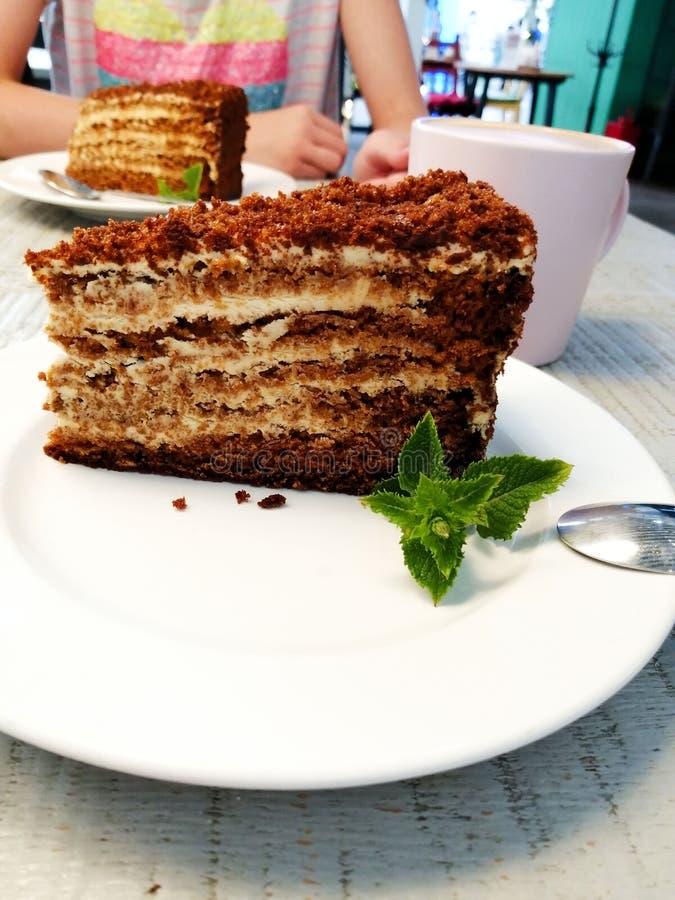 Ett stycke av den bruna kakan med mintkaramellbladet på en vit platta på en tabell i ett kafé arkivfoton