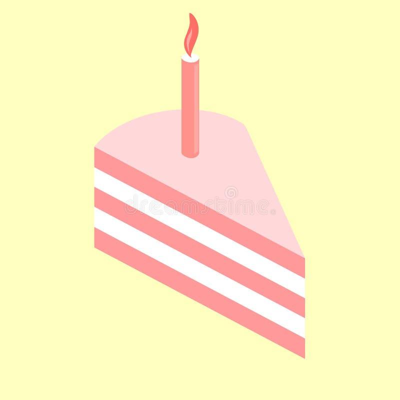 Ett stycke av den rosa kakan med en födelsedagstearinljus var kan formgivare varje f?r objektoriginal f?r evgeniy diagram sj?lvst stock illustrationer