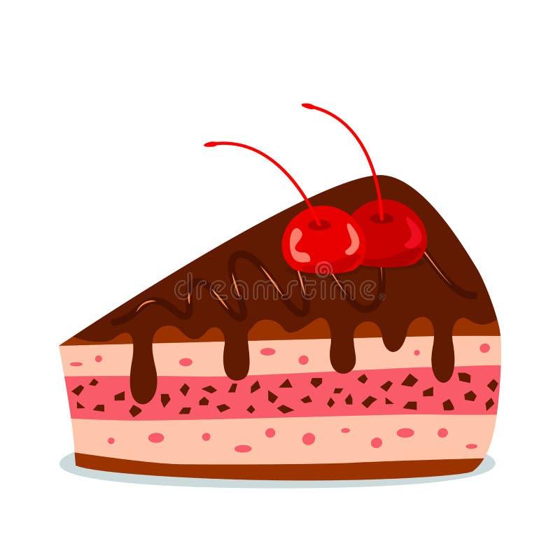 Ett stycke av en körsbärsröd kaka med chokladpralin Begrepp av f?delsedagen Plan isolerad vektorillustration stock illustrationer