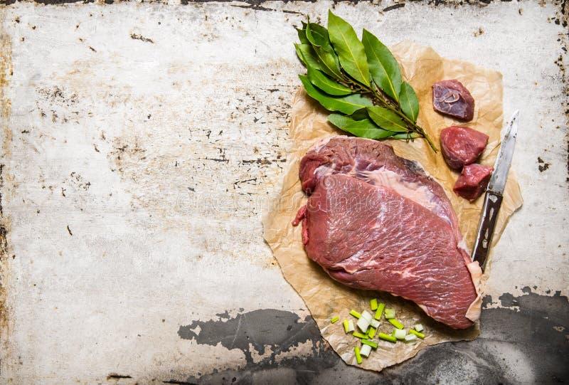 Ett stycke av nytt rått kött med kryddor arkivfoton