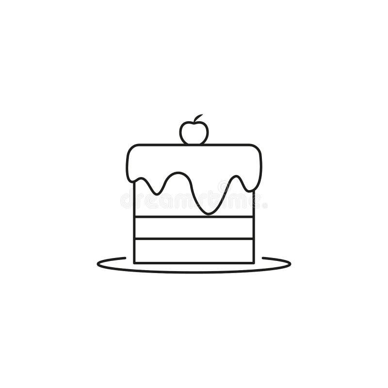 Ett stycke av ostkakasymbolen med körsbäret stock illustrationer