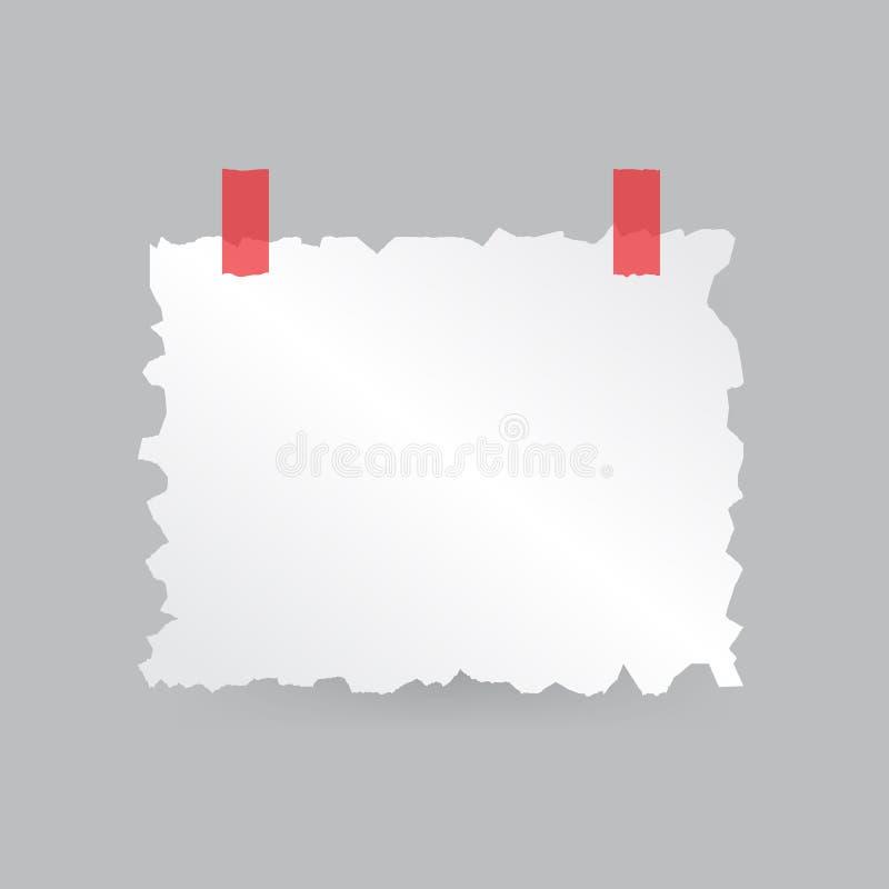 Ett stycke av papper med sönderrivna kanter tejpas royaltyfri illustrationer