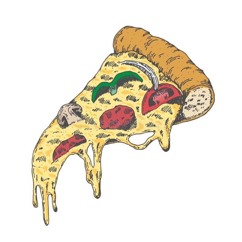 Ett stycke av smaskig pizza, pizza för stil för attraktion för tappningblickhand stock illustrationer