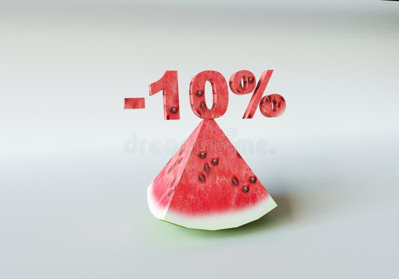 Ett stycke av vattenmelon och 10% royaltyfria bilder