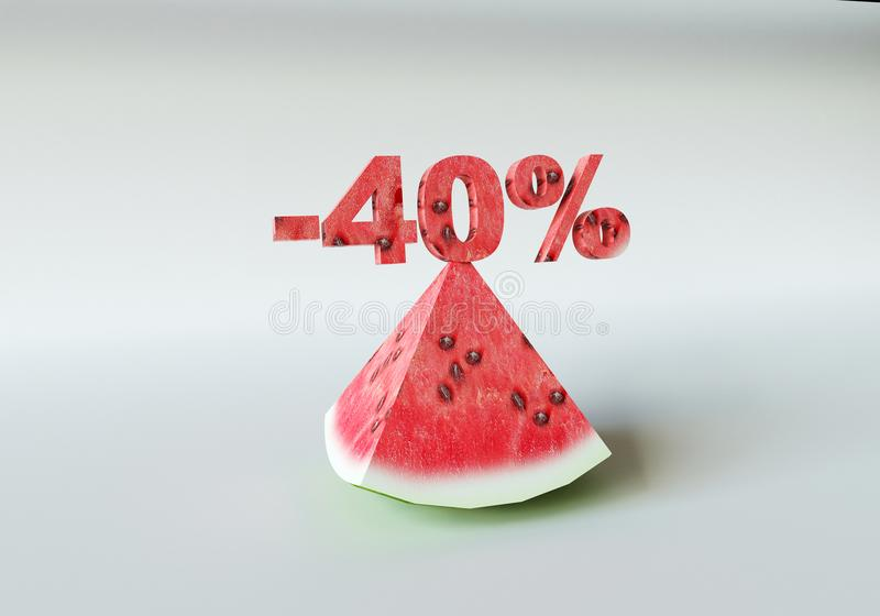 Ett stycke av vattenmelon och 40% royaltyfri bild