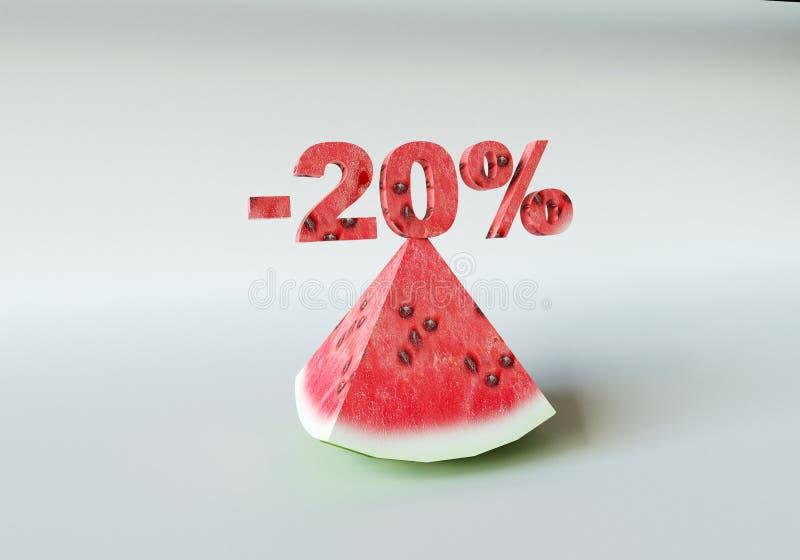 Ett stycke av vattenmelon och 20% royaltyfria foton