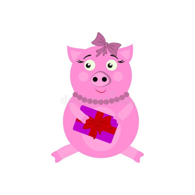 Ett svin med närvarande symboler för nytt år i färg stock illustrationer