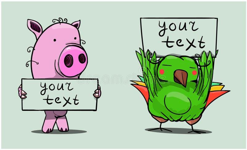 Ett svin står och rymmer ett tecken som säger 'din text `, royaltyfria foton
