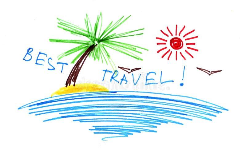 Ett symboliskt abstrakt landskap ?r en semesterort tropiskt hav Smsa - det bra loppet stock illustrationer
