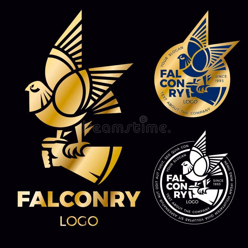 Ett tecken av falkenerarkonst är en falk, en hök sitter på en behandskad hand Idérik logo för företags identitet guld- falklabe vektor illustrationer