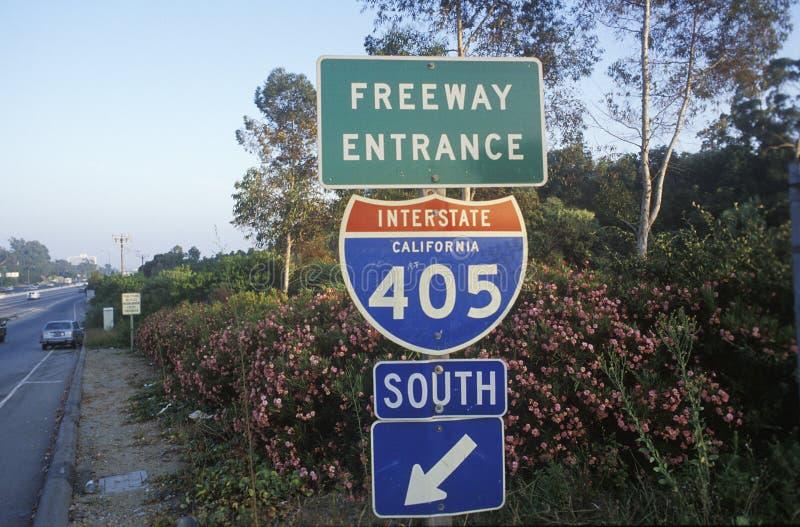 Ett tecken för 405na San Diego fotografering för bildbyråer