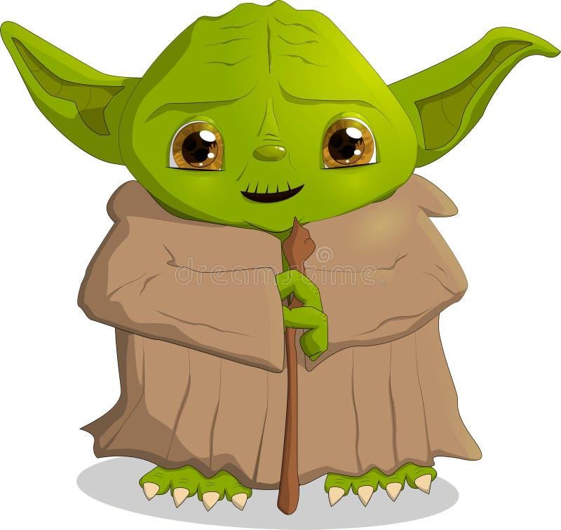 Ett tecken från filmstjärnakrigen, Yoda, vektor för formatEPS 10 stock illustrationer
