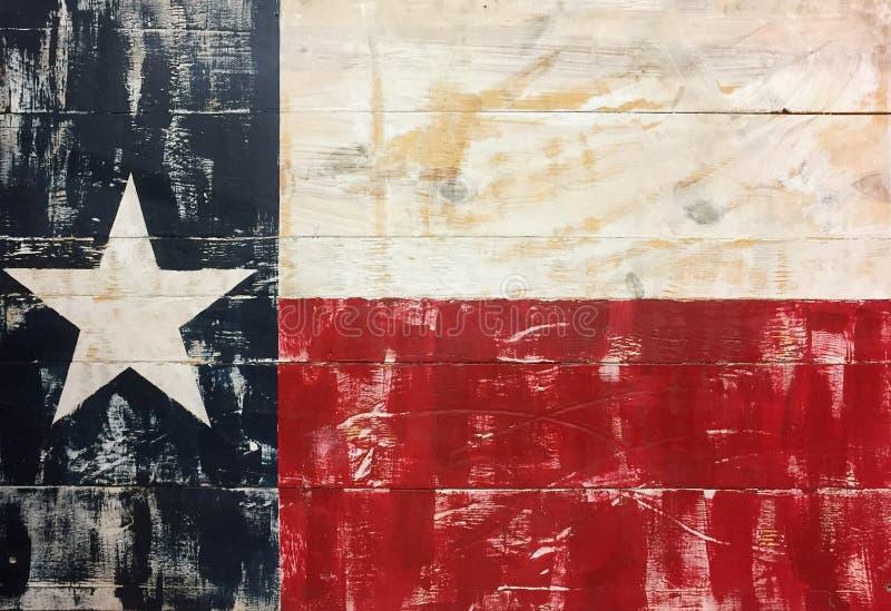Ett tillstånd av det Texas teckenUSA trycket på trä