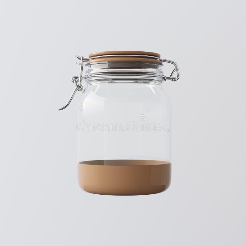 Ett tomt genomskinligt exponeringsglas skorrar det stängda keramiska locket isolerade Gray Background Ren glas- klar behållaremod vektor illustrationer
