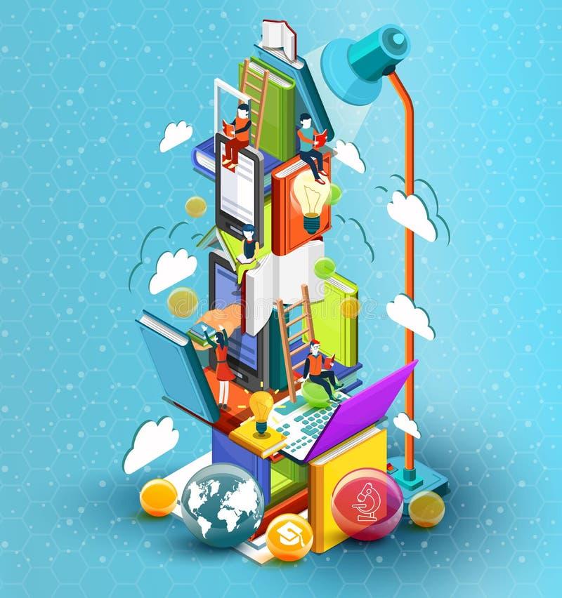 Ett torn av böcker med läs- folk bilda begrepp Online-arkiv Isometrisk plan design för online-utbildning royaltyfri illustrationer