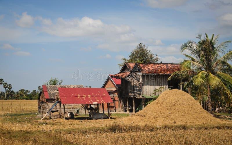 Ett trähus på en khmerbyn i Kampot, Cambodja arkivfoto