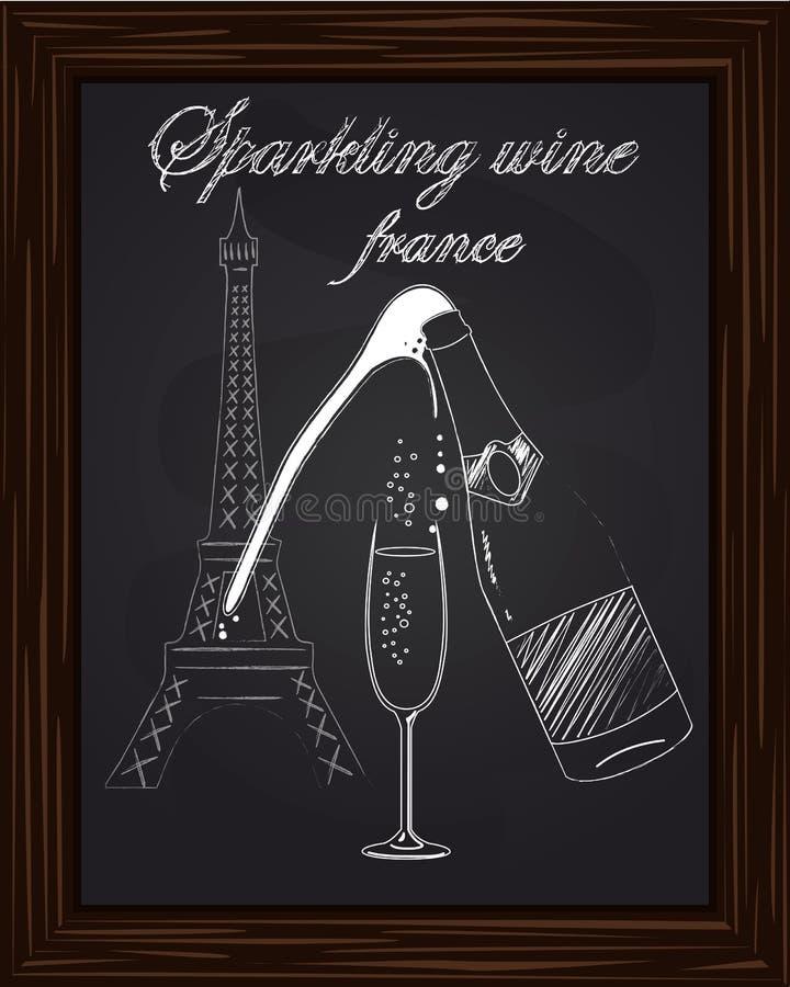 Ett trevligt exponeringsglas och en flaska av champagne med skum på bakgrunden stock illustrationer